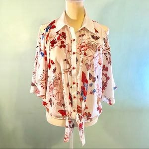 ANTHRO batwing floral blouse cold shoulder.